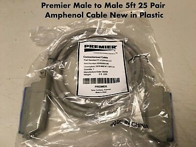 PBX AMP 5Ft 25 Pair Telco Amphenol CAT3 Trunk Cable 50-Pin Male to Male
