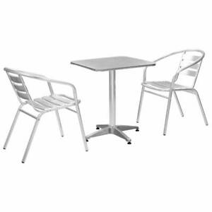 vidaXL Ensemble de Bistro 3 pcs Table Carrée Argenté Aluminium Salon ...
