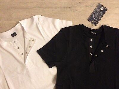 Arizona Henleyshirt T-shirt Uomo Tg. 40/42 M Set 4 Pezzi Nero + Bianco Nuovo- Attraente E Durevole