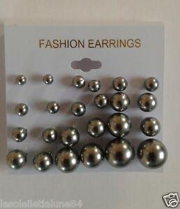 c39f57a4d2c LOT 12 paire boucle d oreille perle couleur brillante puce 3 a 12 MM ...