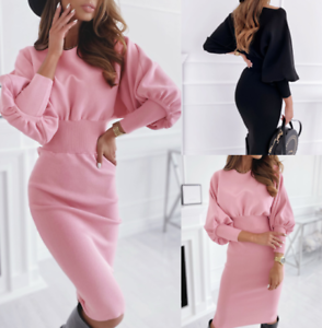 Womens-sexy-Loose-comfy-Long-Plus-size-Dress-Ladies-Warm-Maxi-Wrap-Dresses