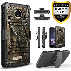 For Motorola Moto Z Z2 Z3 Play Z2 Force Belt Clip Case +Tempered Glass Protector
