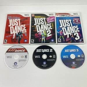 Just Dance 1, 2 & 3 Video Game Bundle for Nintendo Wii - Complete, Play Tested