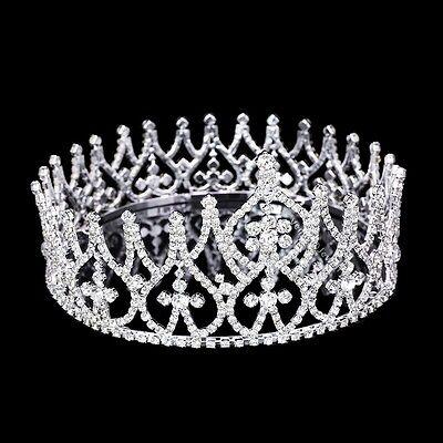 "Bridal Pageant Wedding Prom Rhinestones Crystal 4"" Tall Tiara Full Crown 71015"
