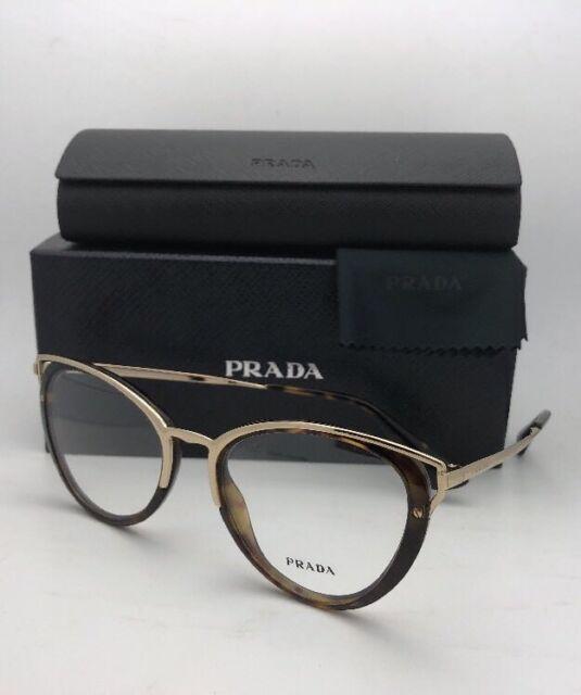 e69127018685 PRADA Eyeglasses VPR 53u 2au-1o1 52-19 145 Tortoise & Gold Cat Eye ...