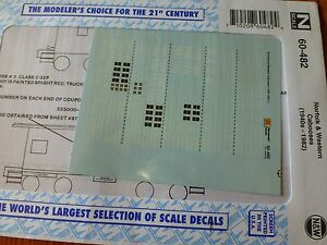 Microscale decals N 60-482 Norfolk Western cabooses white lett red car     E36