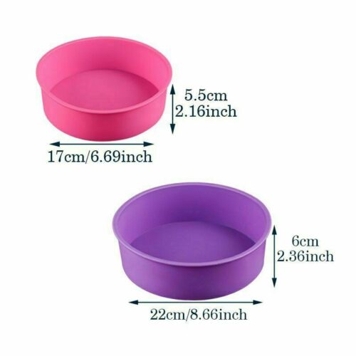 2pcs Silicone Molds Set For Cakes Decor Tools 68 Inches Baking Dish Round Mold