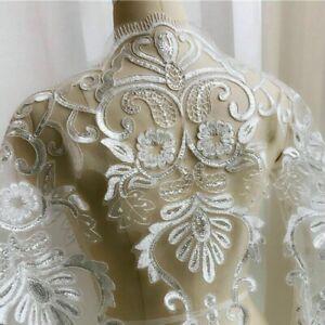 Pailletten-Stickereien-Blumen-Spitzenrand-Stoff-Patch-Naehen-Hochzeit-Braut-Kleid