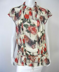 e68d801a929972 TED BAKER LONDON SHORT SLEEVE BLOUSE Size 4 IVORY FLORAL RUFFLED ...