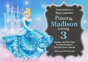Cinderella birthday party invitation ebay image is loading cinderella birthday party invitation filmwisefo