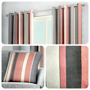 Fusion-WHITWORTH-STRIPE-Pink-100-Cotton-Ready-Made-Eyelet-Curtains-amp-Cushions