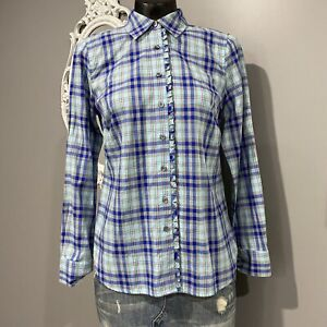 XS Womans NWT TALBOTS Blue Ruffle Trim Plaid Flannel Shirt Top