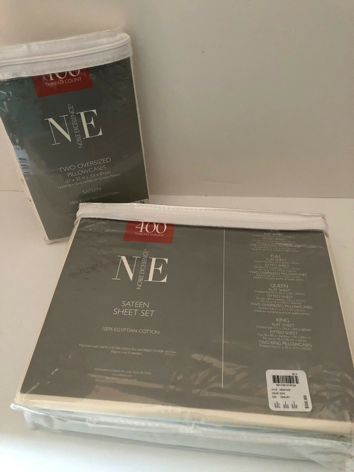 NIB Nobel Excellence Ecru Sateen Egyptian Cotton Twin Sheet Set 3 Pillow Cases