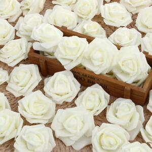 50x-Weiss-Schaumrosen-Rosenkoepfe-Kunstblumen-Kuenstliche-Blume-Hochzeit-Wohnzim