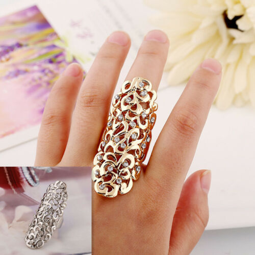 New Fashion Hollow Out Flower Rhinestone Full Finger Armor Joint Knuckle Ring