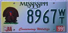 GENUINE  American Mississippi Wildlife Turkey USA License Number Plate 8967
