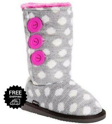 Muk Luks Girls Boots Malena Polka Dot size Big Girls Size 3 Fur Lined Boot