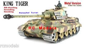 Radio-remote-Control-Heng-Long-King-Tiger-HENSCHEL-Barrel-BB-Smoke-Sound