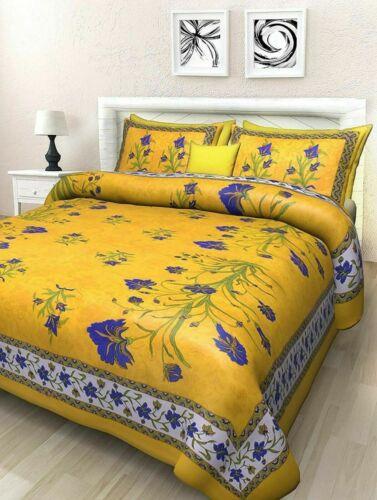 Jaipuri Print 100/% Cotton Traditional King Size Double Bedsheet Bedspread