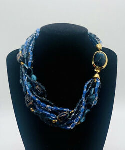 Beautiful MURANO Sommerso Glass Beaded Necklace 9 Strand Torsade Vintage Jewelry