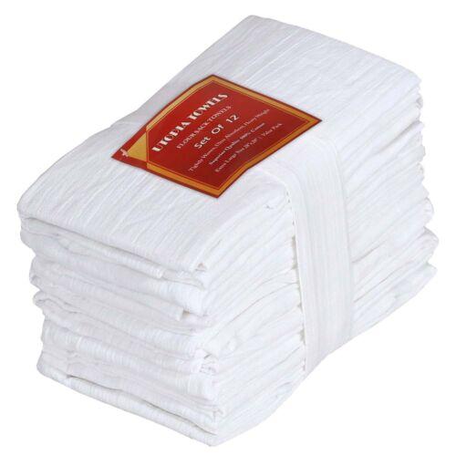 "White Cotton Dish Towels Utopia Kitchen 12 PACK 28/""x28/"" Flour Sack Absorbent Set"