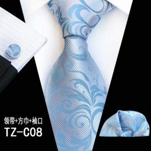 New Men/'s Tie Cufflinks Pocket Square Set Jacquard Woven Silk Necktie