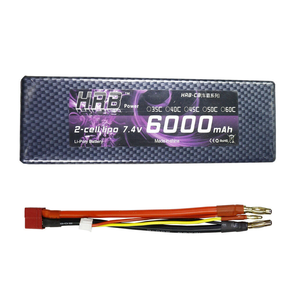 HRB 7.4V Lipo Battery 6000mAh 2S 60C 120C Banana Hardcase for RC Car 1 10 Scale