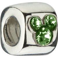 Authentic Chamilia Disney Green Cz Bead Charm Mickey Dis-500b W/box