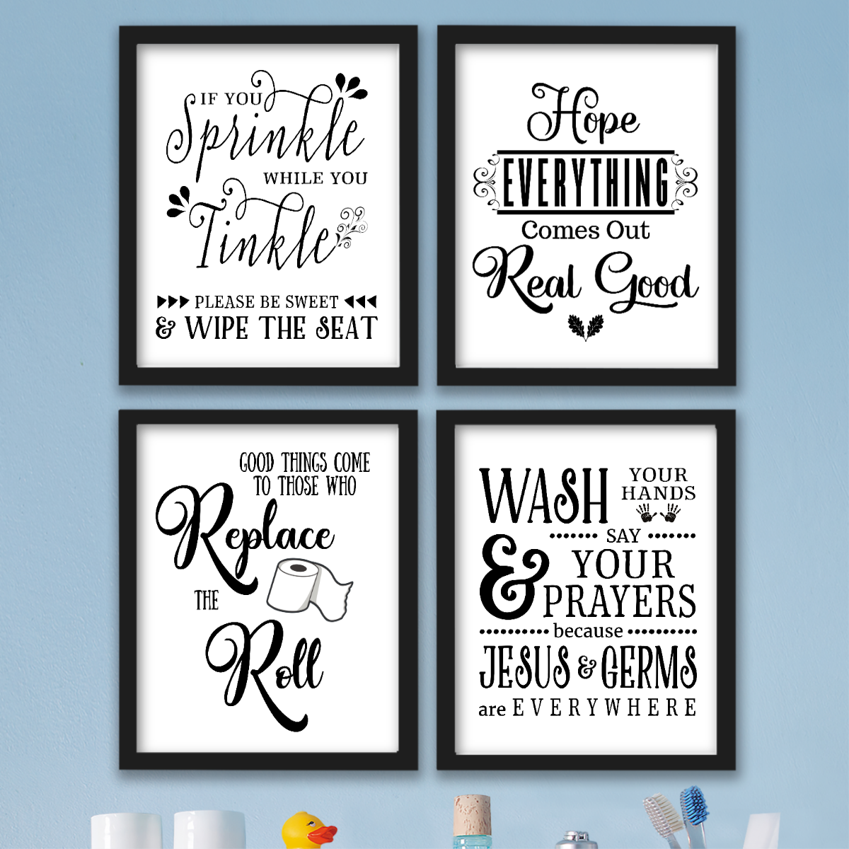 Funny Bathroom Wall Art Prints Farmhouse Decor Quotes Signs Pictures Gag Gift 4