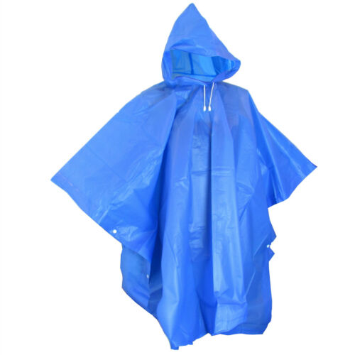 Regen Poncho Regenschutz Regencape Kaputze Knöpfe dünn leicht blau