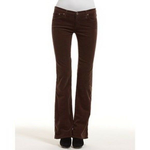 AG ADRIANO goldSCHMIED ANGEL BOOT CUT very stretchy brown corduroy cords jeans