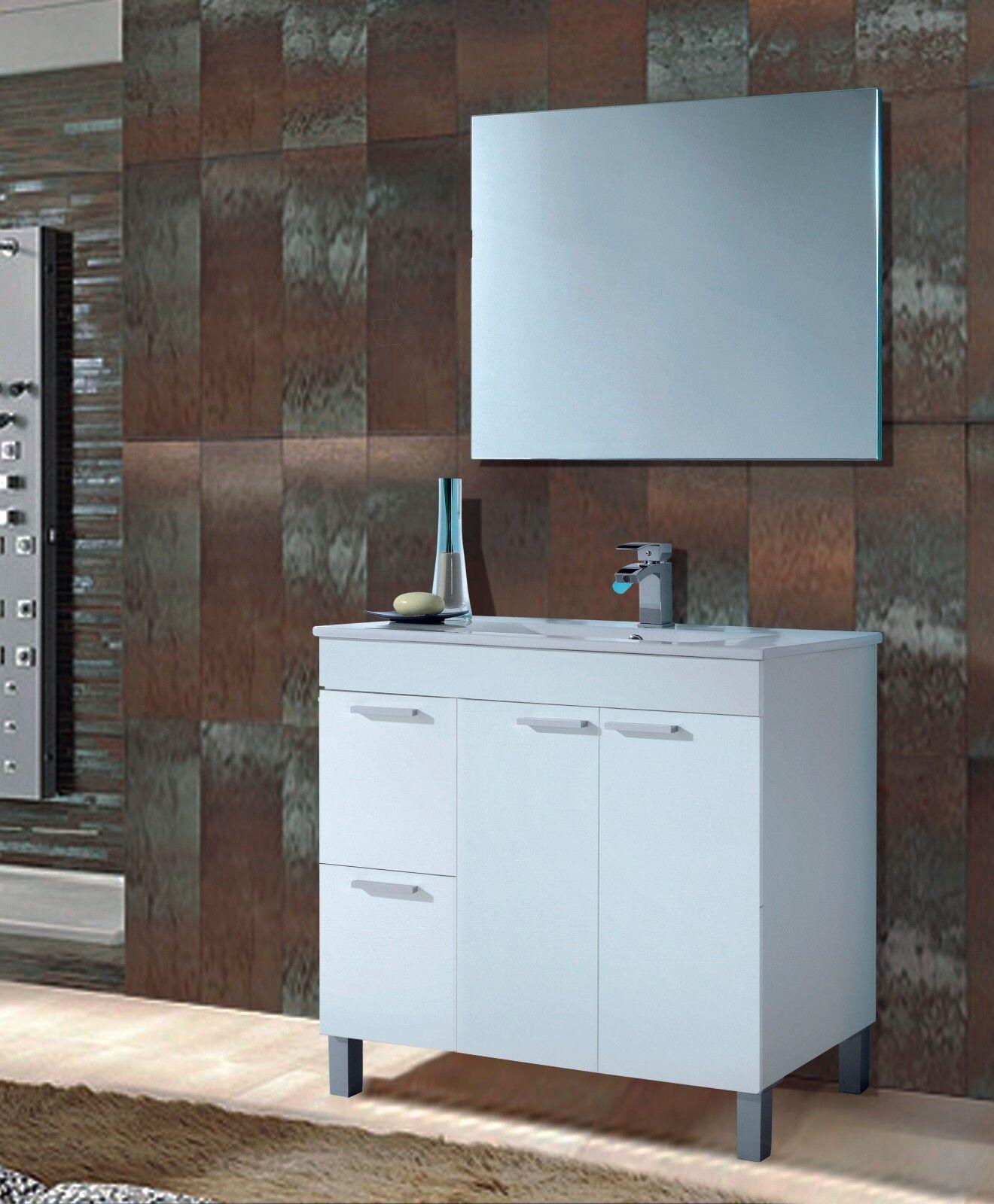 Mueble de baño con espejo y lavamanos PMMA, todo en blanco brillo...