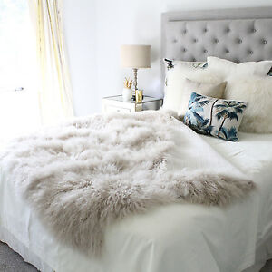 Image Is Loading BEIGE CREAM TAUPE MONGOLIAN SHEEPSKIN THROW BLANKET BED