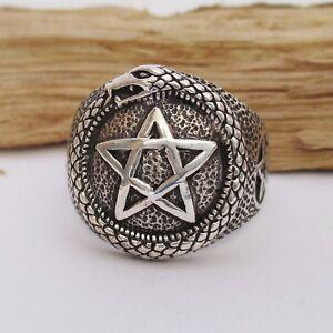 Pentagramm-Ring-Silber-925er-Schlange-Schlangenring