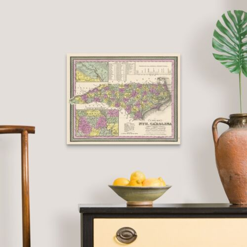 Map Home Decor Vintage Map of North Carolina with its Canvas Wall Art Print