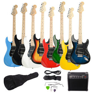 new brand st electric guitar 20w amp strap cord gigbag picks for beginner ebay. Black Bedroom Furniture Sets. Home Design Ideas