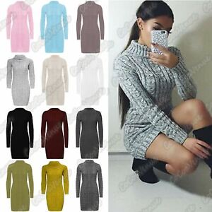 New-Ladies-Cowl-Polo-Neck-Cable-Knitted-Jumper-Pull-Bodycon-Tunic-Mini-Dress