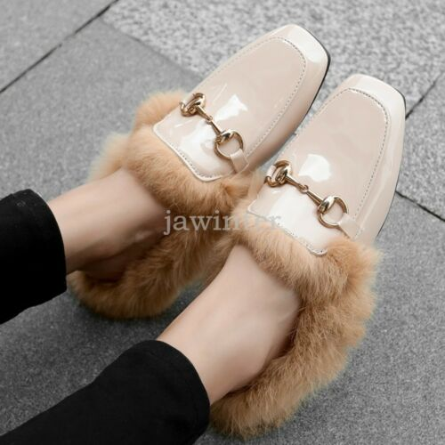 Vraie Fourrure Doublé Cuir Verni Femmes Pantoufle Mule métal SLI P sur Chic Chaussures Neuves