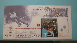 2002 WINTER OLYMPIC GAMES GOLD MEDAL WIN COVER, PHILIPP SCHOCH SWISS SNOWBOARD