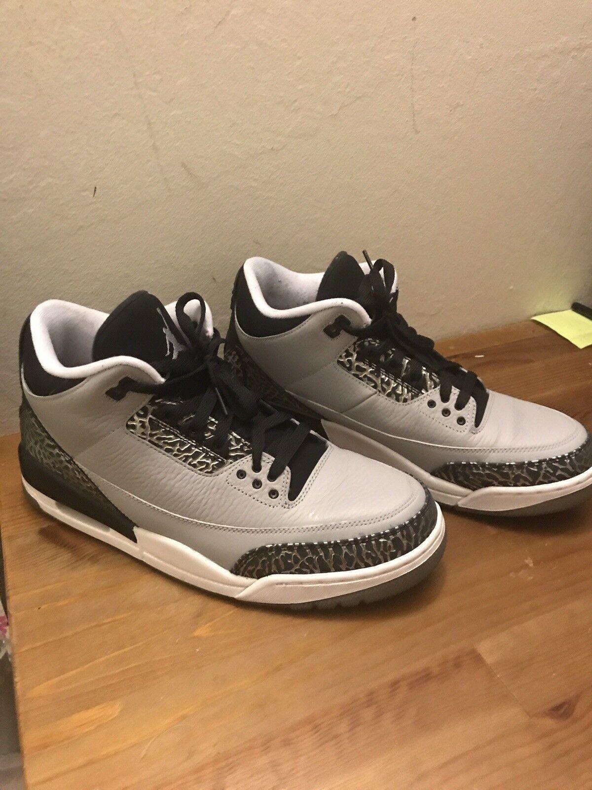 Nike air jordan 3 retrò iii 136064-004 lupo grigio / nero taglia 11