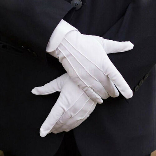 10Pair White Formal Gloves Tuxedo Guard Parade Santa Mens Fancy Dress Inspection