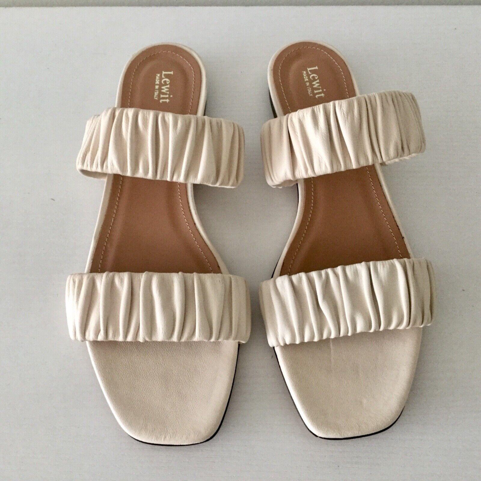 NEW Lewit Elena Ruched Bone Leather Slide Sandal Size 39