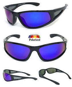 1723950f6c2d Image is loading Aviator-Wrap-around-Polarized-Sunglasses-Tinted-Blue-Mirror -