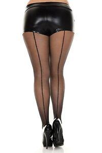 Black-Seamed-Tights-Sheer-Pantyhose-Plus-Size-L-XL