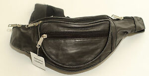New-Black-Full-Soft-Leather-Extra-Strong-Bumbag-Bum-Bag-Zipped-Pockets