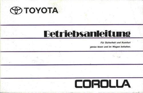 TOYOTA COROLLA 7 E100 Betriebsanleitung 1992 Bedienungsanleitung ...