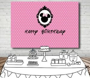 Pink-White-Polka-Dots-Minnie-Mouse-Backdrop-Photo-Girl-Birthday-Party-Background