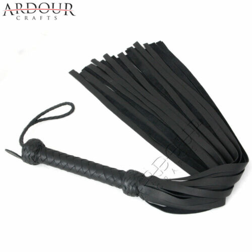 Genuine Black Cow Hide Thick Leather Flogger 50 Tails or Heavy Leather Flogger