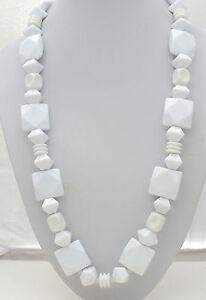 Vintage-Freirich-White-Lucite-Bead-Necklace-30-034-Statement-Designer-Jewelry