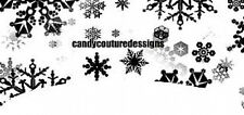 20 water slide nail art  decals Christmas black and white snowflake french tip